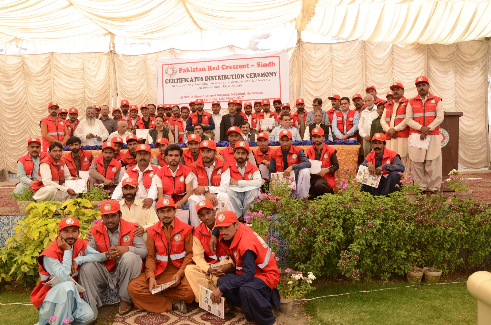 Red Crescent-Sindh honours volunteers and staff of Jamshoro